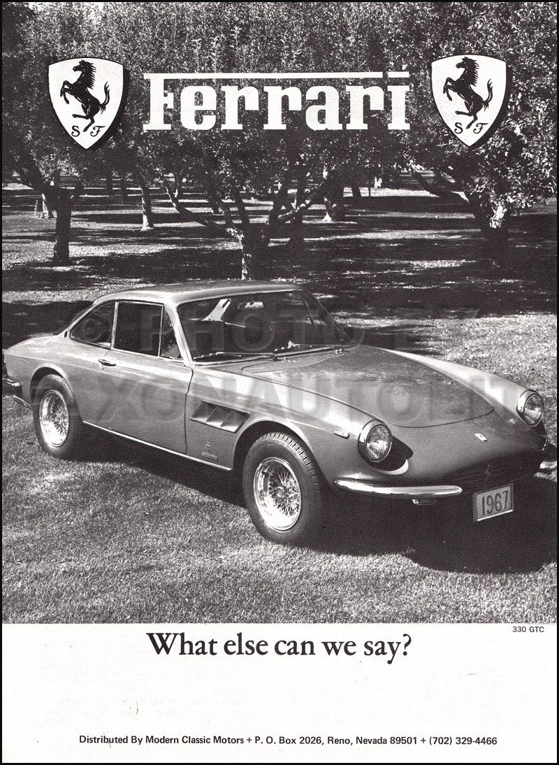 1967-1968 Ferrari Specifications Sheet 330 GT Spyder GTS 275 GTB Original