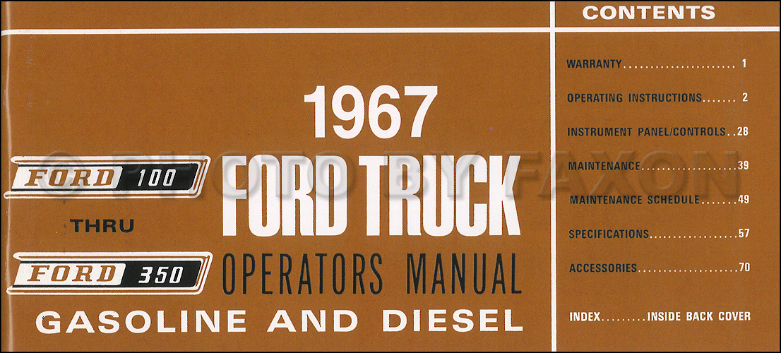 1967 Ford F100 F250 F350 Pickup Truck Owner's Manual Reprint
