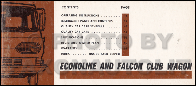 1967 Ford Econoline and Falcon Club Wagon Owners Manual Original