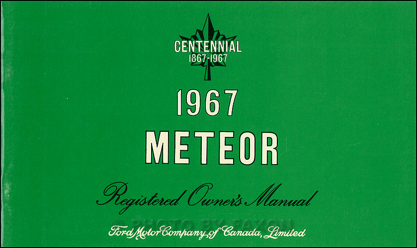 1967 Meteor Owner's Manual Original Canadian Rideau Montcalm Montego