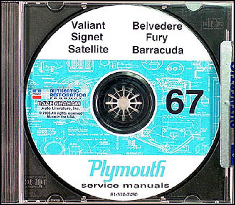 1967 Plymouth CD Shop Manual Belvedere, Satellite, Fury, Valiant