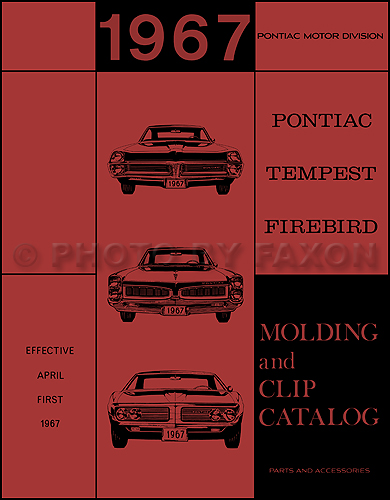 1967 Pontiac Body Molding and Clips Parts Catalog Reprint