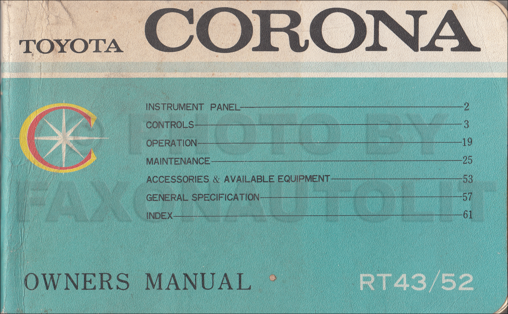 1968 Toyota Corona Owner's Manual Original
