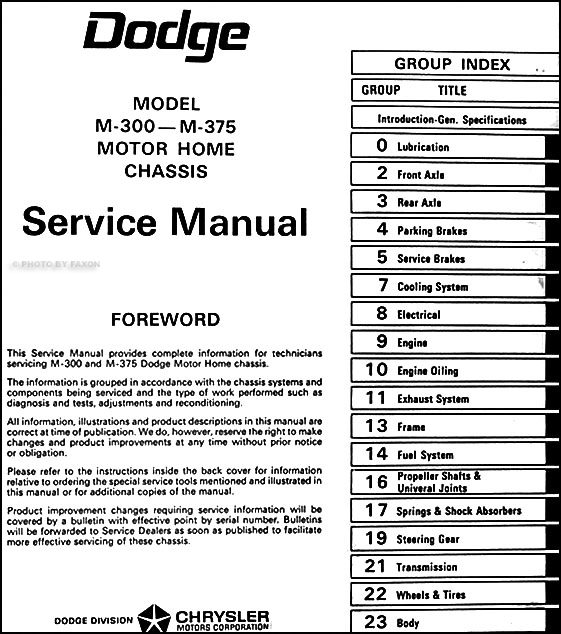 1968-1970 Dodge Motor Home Chassis Repair Shop Manual Reprint M-300 M-375