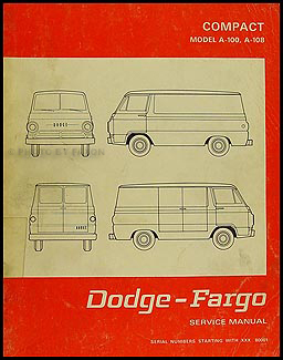 1968-1970 Dodge/Fargo Candian Van Repair Shop Manual Original A-100 A-108