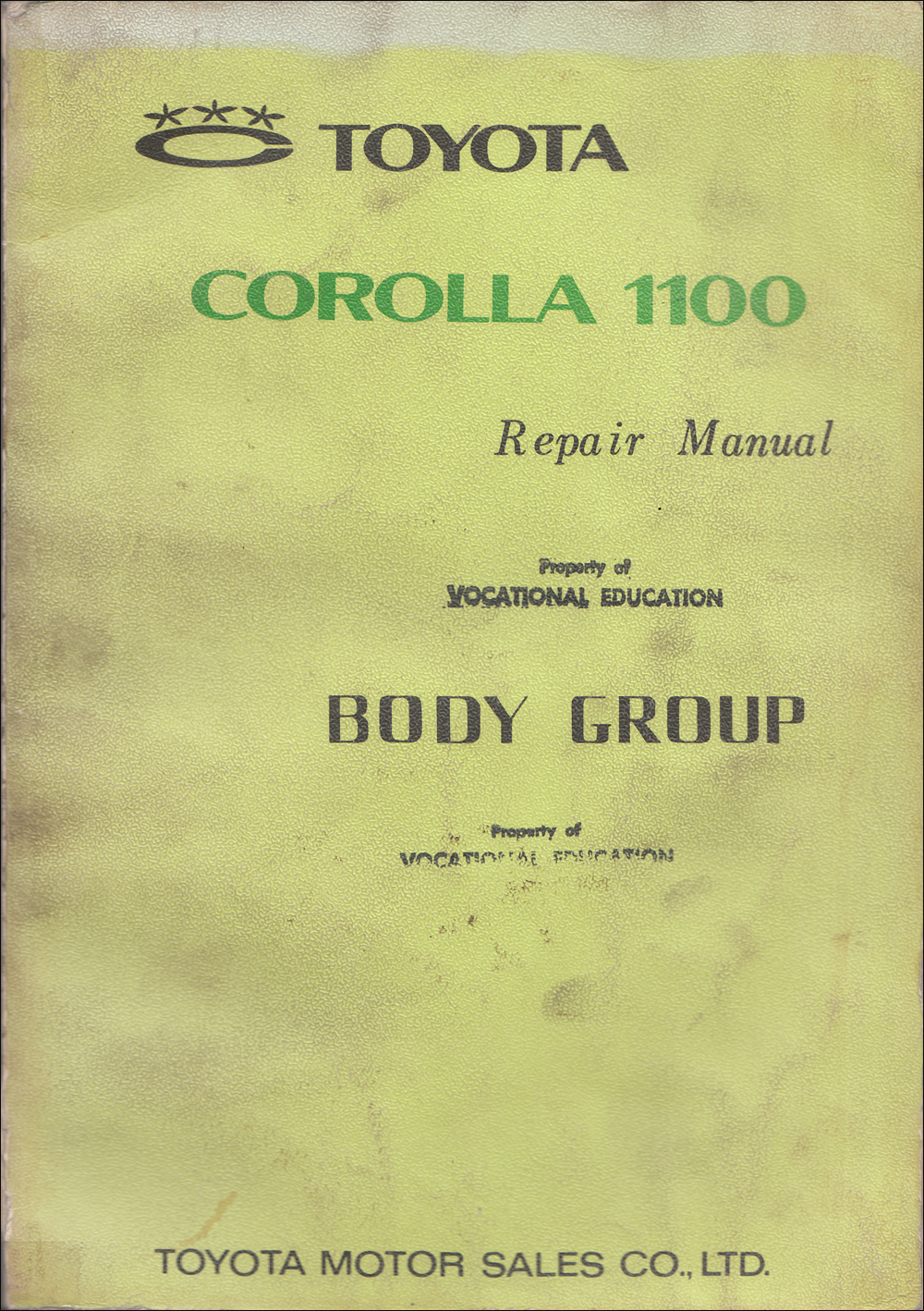 1968-1970 Toyota Corolla Body Repair Manual Original No. 98412