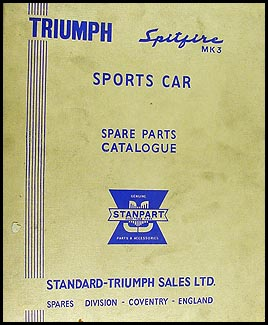1969-1970 Triumph Spitfire Mark III Parts Book Original