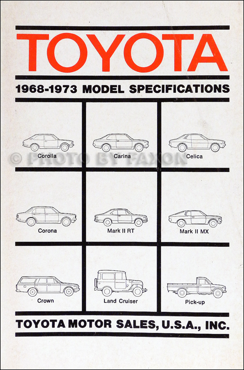 1968-1973 Toyota Model Specifications Manual Original