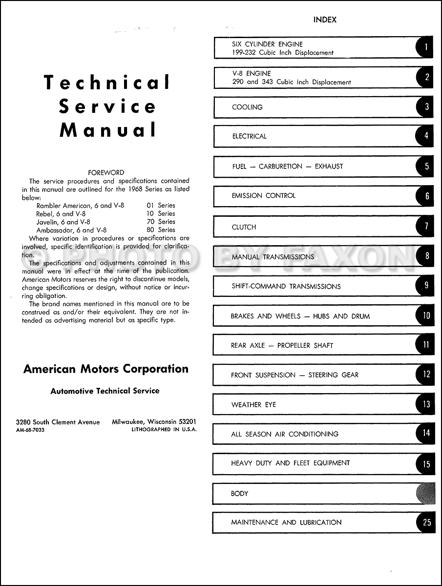 1968 Amc Repair Shop Manual Reprint Javelin Wiring Diagram Table Of Contents