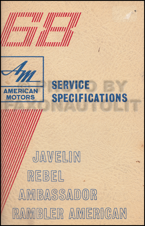 1968 AMC Service Specifications Manual