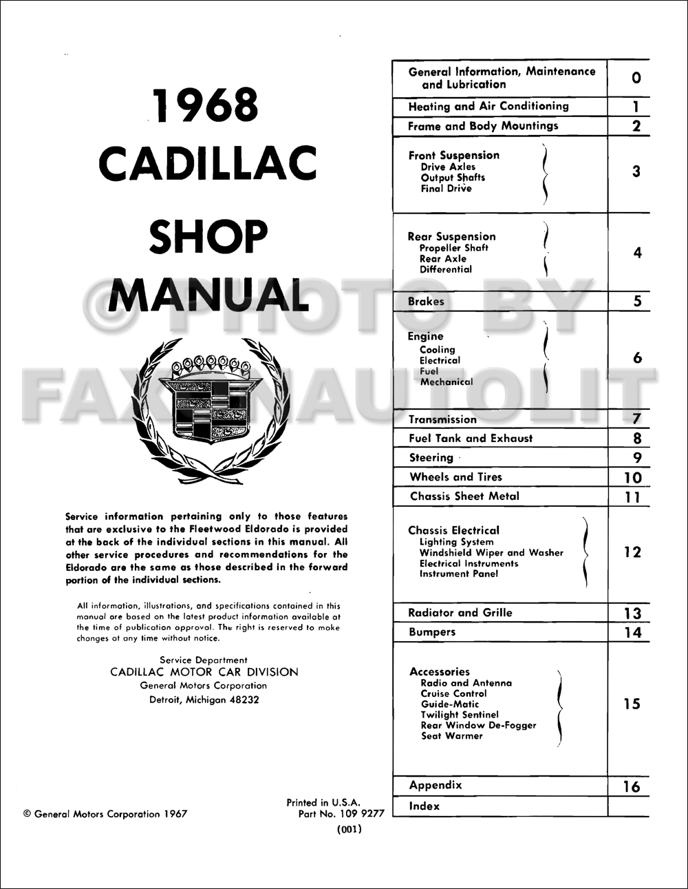1968 cadillac repair shop manual reprint calais de ville