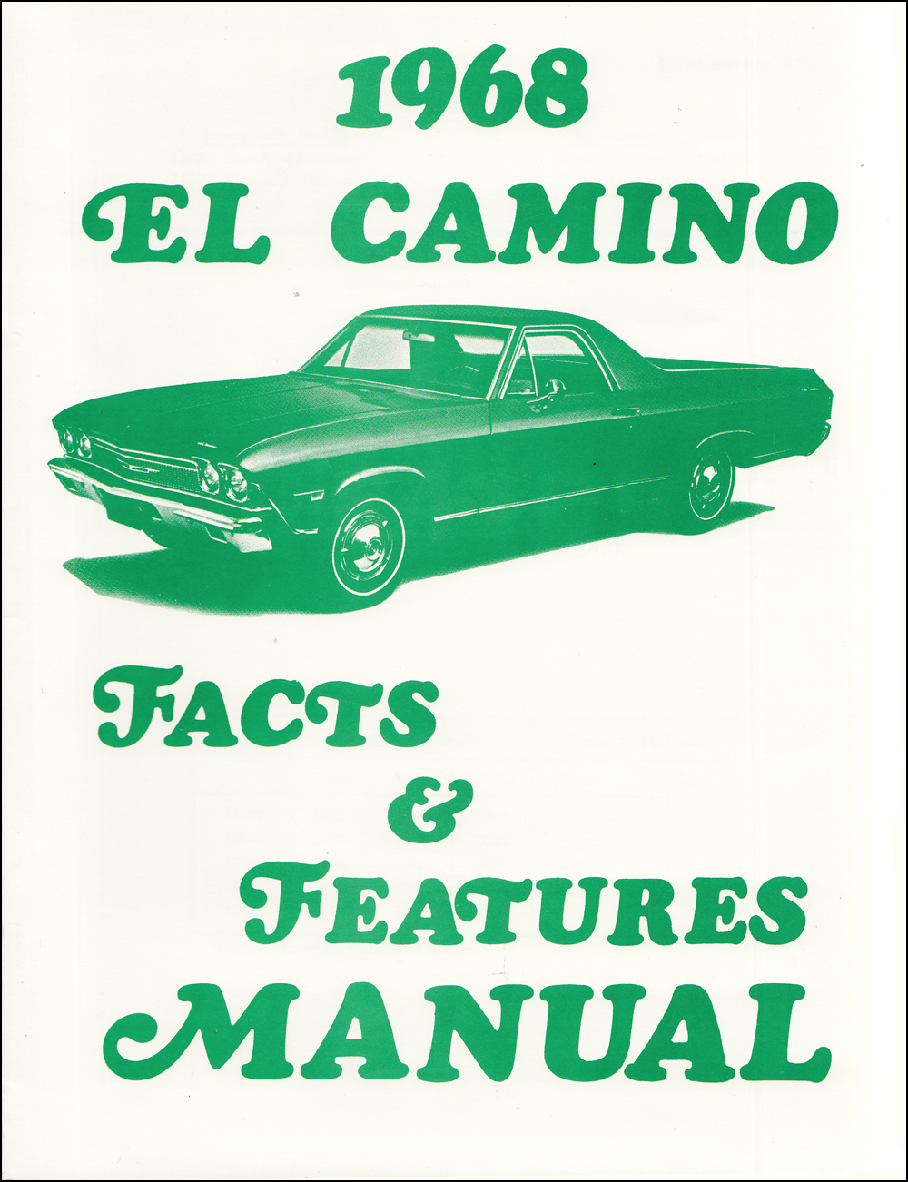 1968 Chevelle Wiring Diagram Manual Reprint Malibu Ss El Camino Alternator Chevrolet Facts And Features