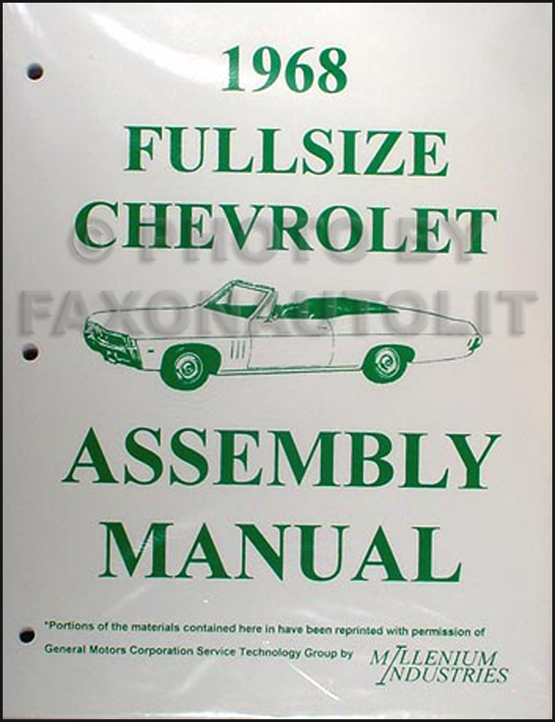 1968 Chevrolet Looseleaf Assembly Manual Impala SS Biscayne Caprice Bel Air