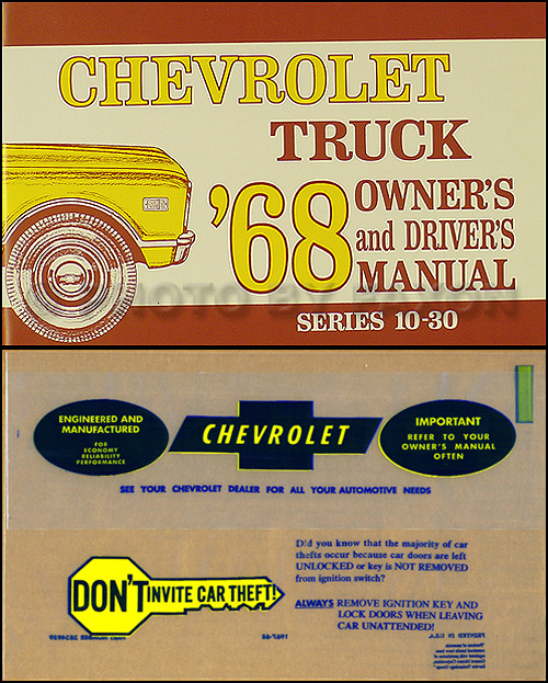 1968 Chevrolet ½-, ¾-, & 1-ton Truck Owner's Manual Package Reprint Pickup/Suburban/P-Chassis