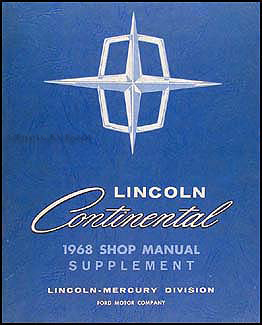 1968 Lincoln Continental Shop Manual Original Supplement