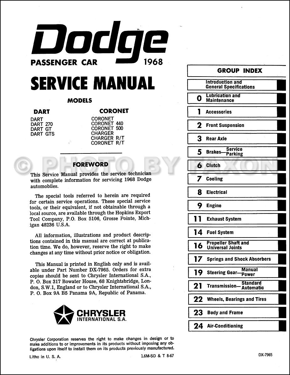 1968 Dodge Charger Coronet Dart Shop Manual Reprint. Table of Contents