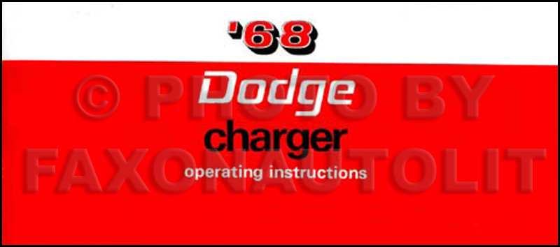1968 Charger R T Wiring Diagram Manual Reprint