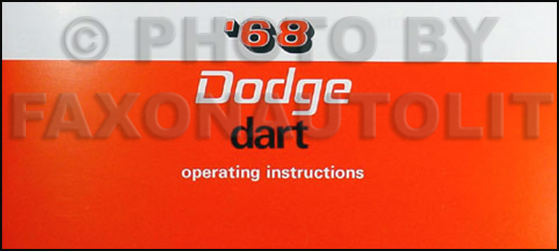 1968 Dart Wiring Diagram Manual Reprint