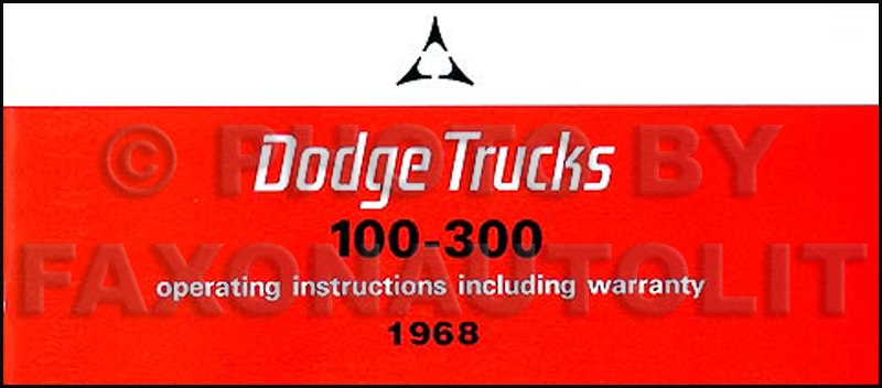 1968 Dodge Reprint Owner's Manual Pickup Truck/Power Wagon/Van 68
