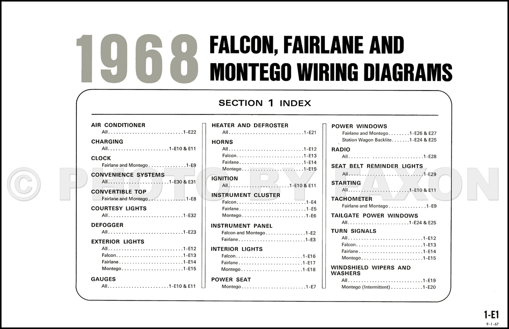 1968 Ford Falcon  Fairlane  Ranchero Mercury Montego Wiring Diagram Original