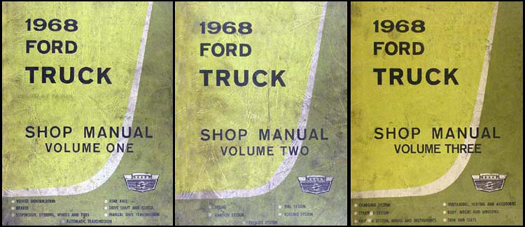 1968 Ford Pickup & Truck Shop Manual Original 3 Volume Set