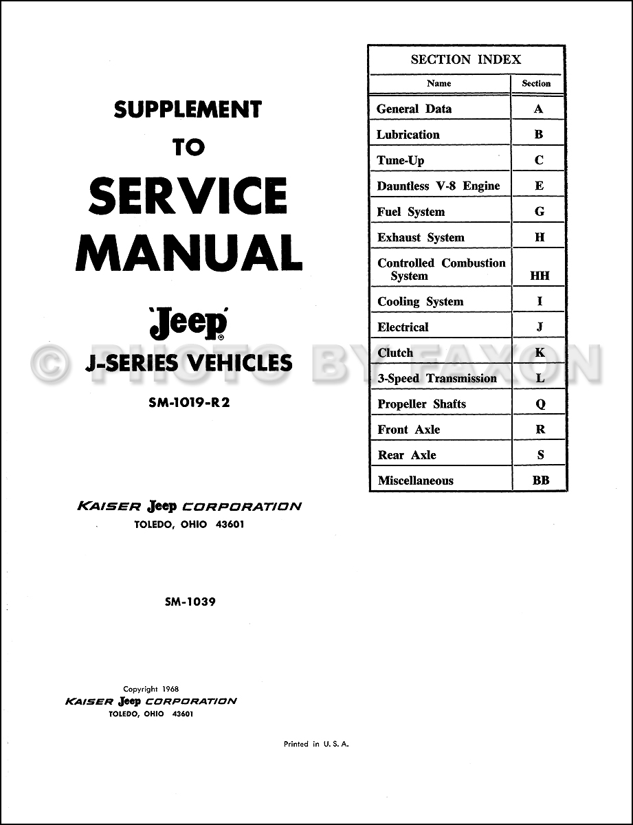 1968 Jeep Gladiator Wagoneer Repair Shop Manual Reprint