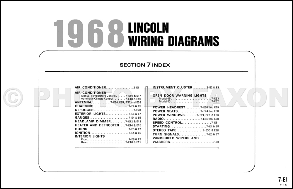 1968 lincoln continental factory wiring diagram original rh faxonautoliterature com