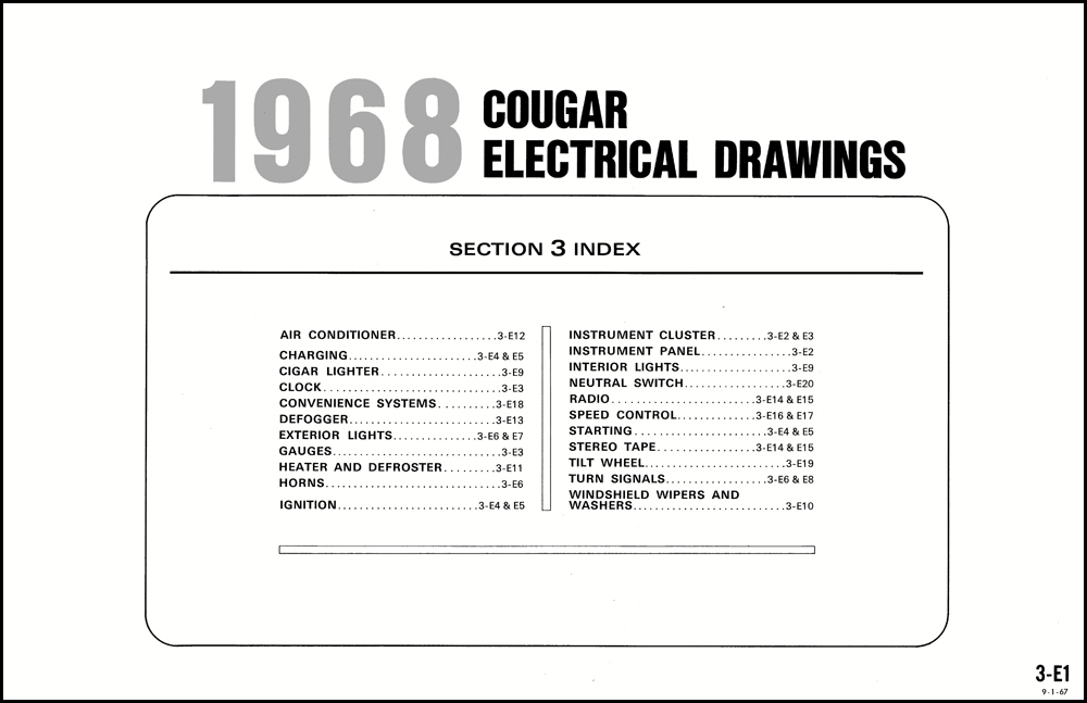 1968 Mercury Cougar And Xr7 Wiring Diagram Original