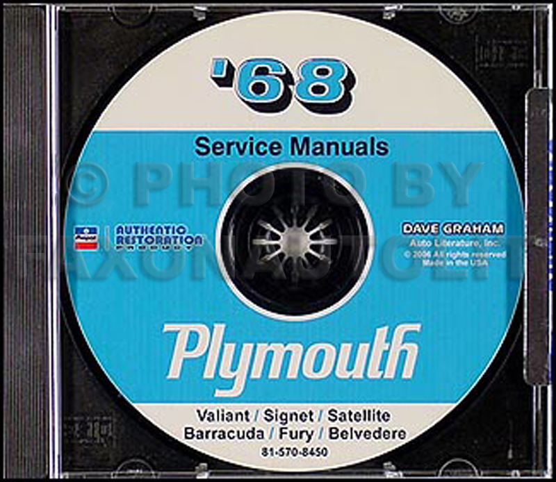 1968 Plymouth CD Repair Shop Manual Barracuda Belvedere Satellite GTX Fury Valiant