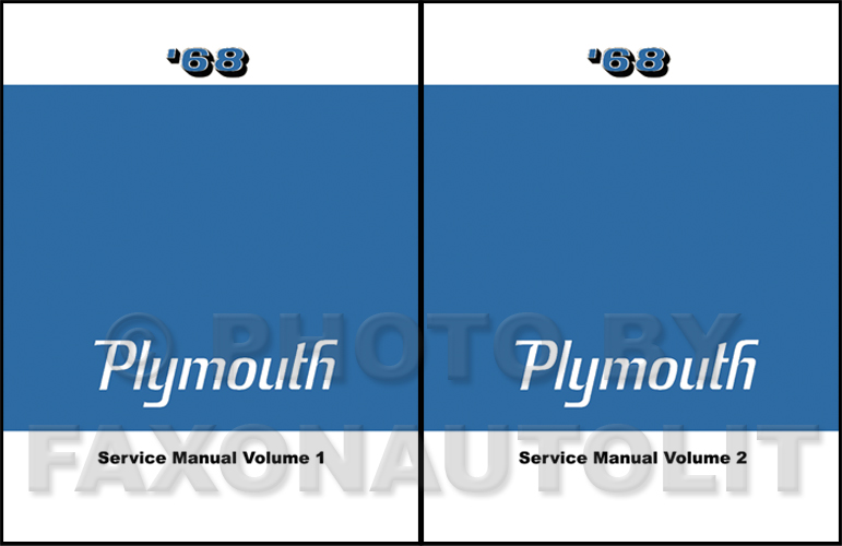1968 Plymouth Repair Shop Manual Reprint