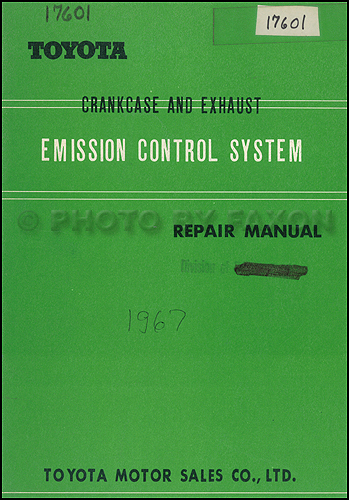 1968 Toyota Corona and Corolla Emission Control Manual Original