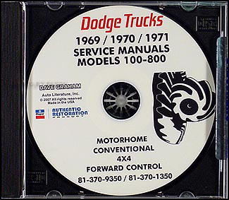 1969-1971 Dodge Truck CD-ROM Shop Manual for trucks & pickup 69-71