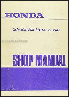 1969-1972 Honda 360, 400, 600, Sedan & Van Repair Manual Original