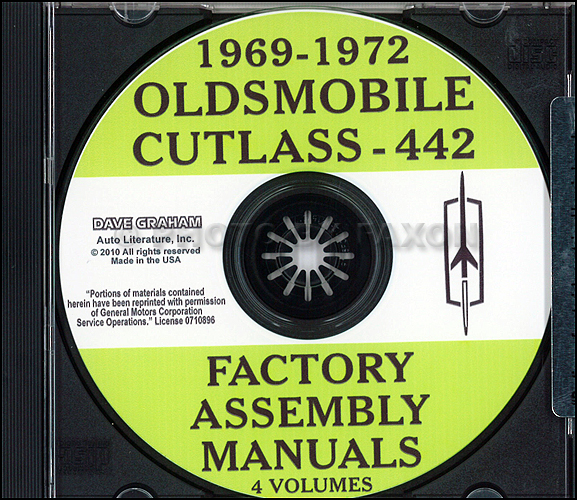 1969-1972 Oldsmobile Cutlass-442 CD-ROM Assembly Manuals