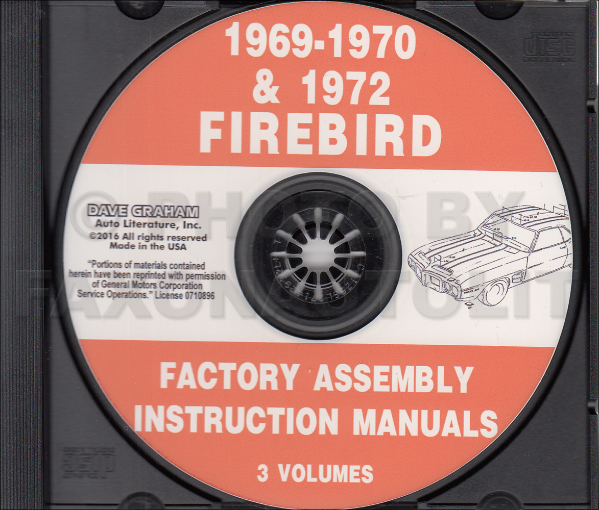 CD-ROM 1969-1970 & 1972 Pontiac Firebird and Trans Am Assembly Manual
