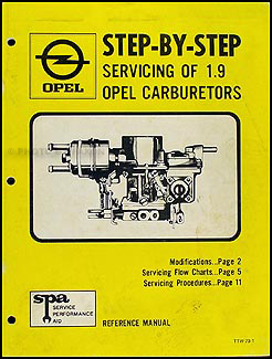 1969-1973 Opel Carburetor Overhaul Manual Original
