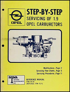 1969-1974 Opel Carburetor Overhaul Manual Original
