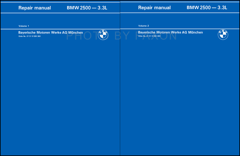 1969-1976 BMW 2500 2800 3.0 CS/i Bavaria Repair Shop Manual Reprint 3.0S 3.0CS 3.0CSi 3.0CSL 3.0Si