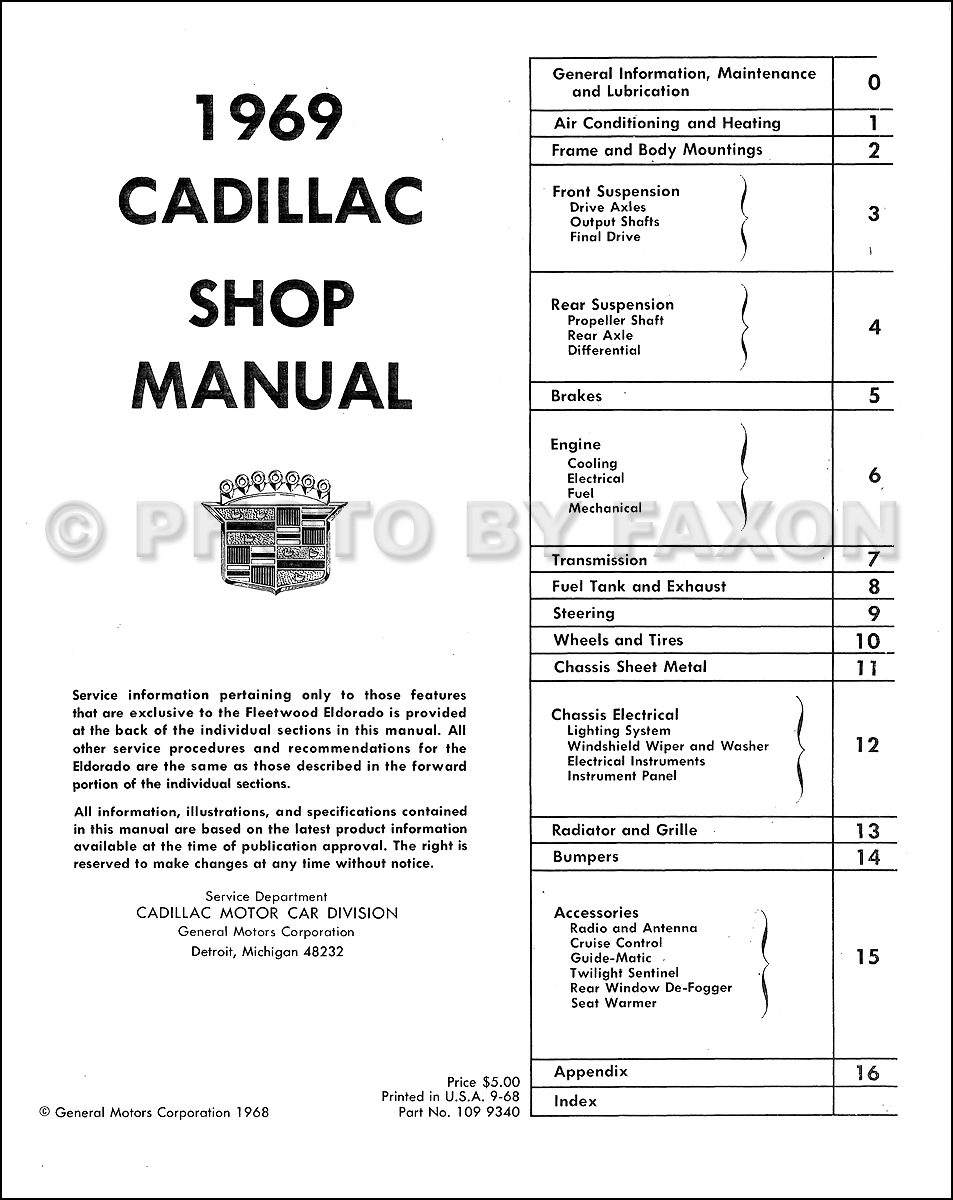 1969 cadillac repair shop manual reprint 1951 oldsmobile wiring diagram