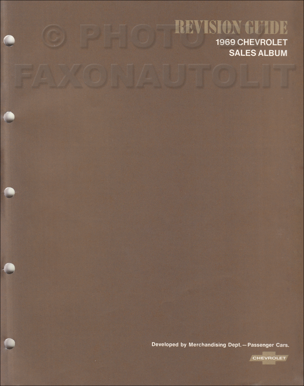 1969 Chevrolet Dealer Album Revision Guide Original