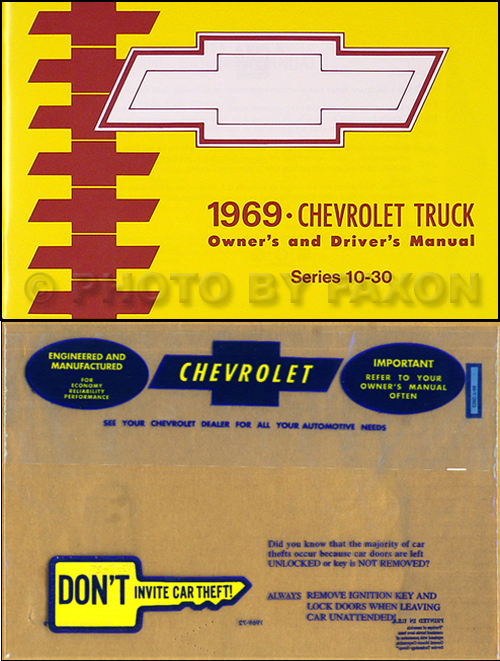 1969 Chevrolet ½-, ¾-, & 1-ton Truck Owner's Manual Package Reprint Pickup/Suburban/P-Chassis