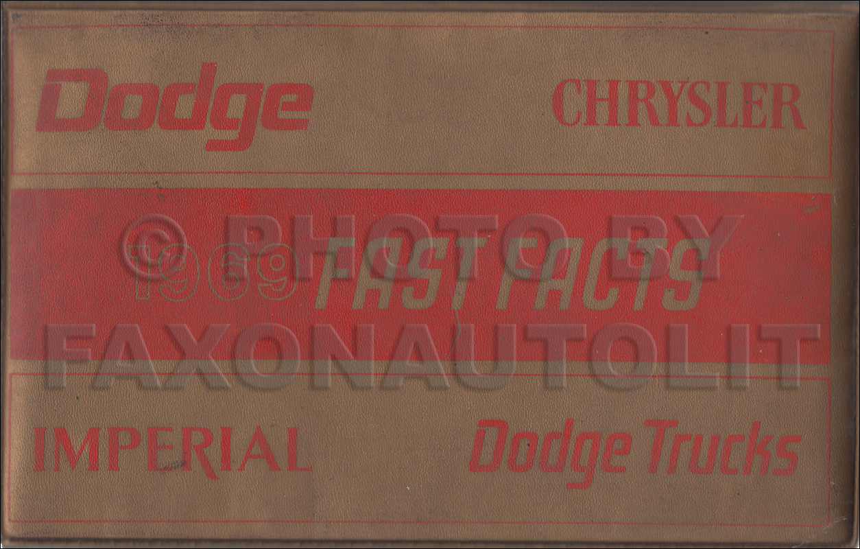 1969 Chrysler and Dodge Data Book Original Canadian