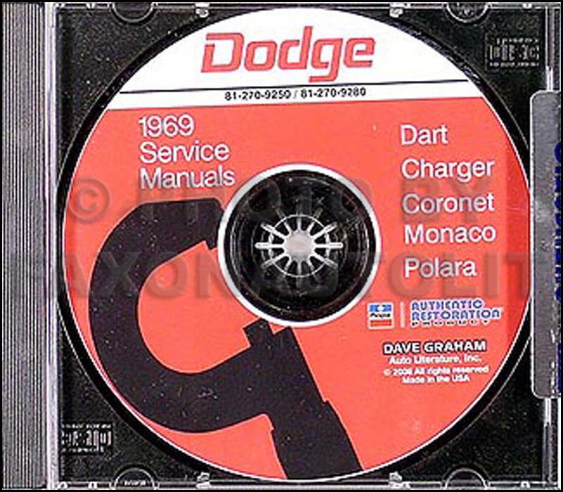 1969 Dodge CD Shop Manual for Charger/Dart/Polara/Monaco/Coronet 69