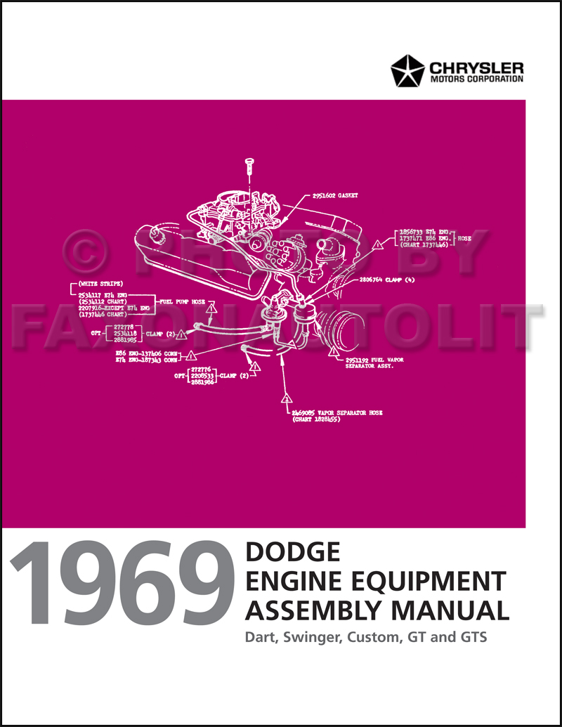 1969 Dodge Dart Engine Assembly Manual Reprint