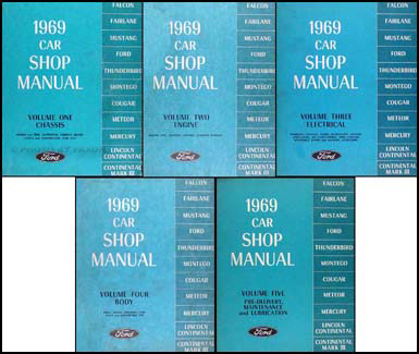 1969 Ford Lincoln Mercury Repair Shop Manual Original 5-Volume Set - All Cars