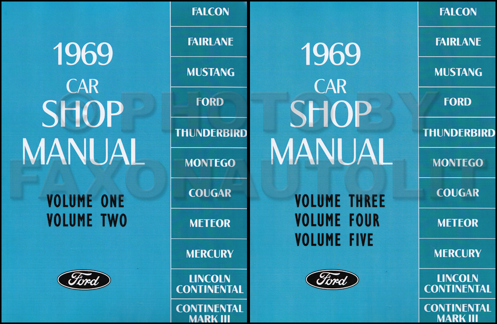 1969 Ford Lincoln Mercury Repair Shop Manual Reprint Set All Cars