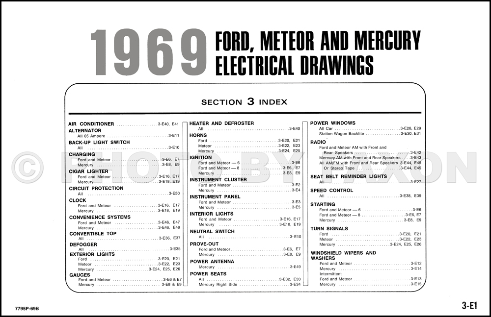 1969 ford wiring wiring diagrams 63 Chevy Impala 1969 ford and mercury wiring diagram galaxie custom ltd marquistable of contents page