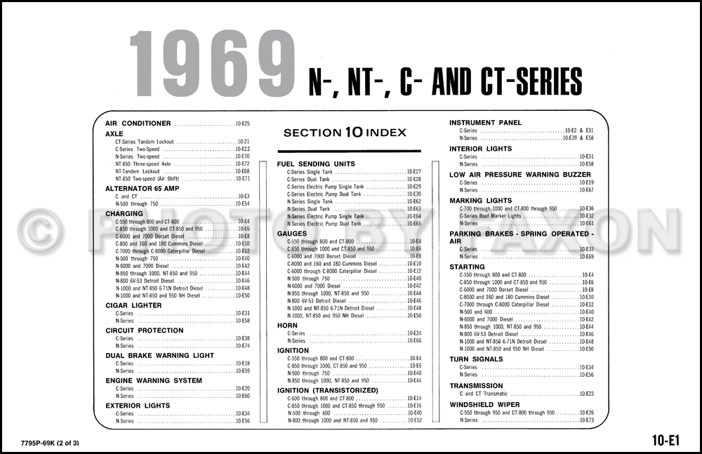 1969 Ford N Nt C And Ct Series Truck Wiring Diagram