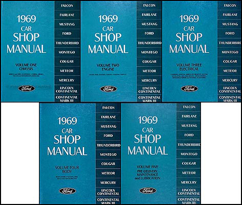 1969 Ford Lincoln Mercury Repair Shop Manual Reprint 5-Volume Set All Cars