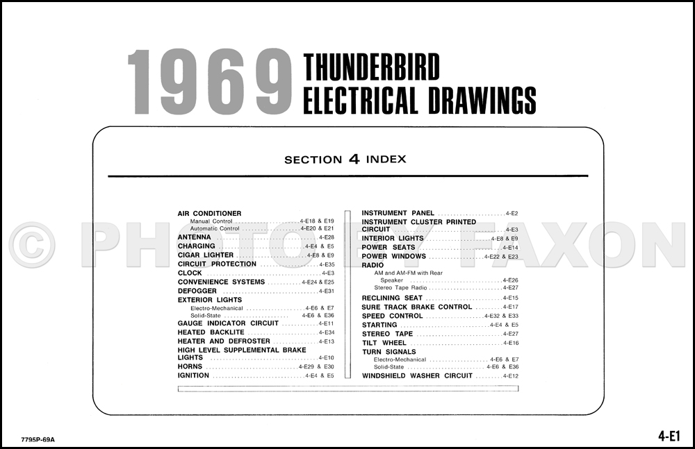 1969 Ford Thunderbird Factory Wiring Diagram Original
